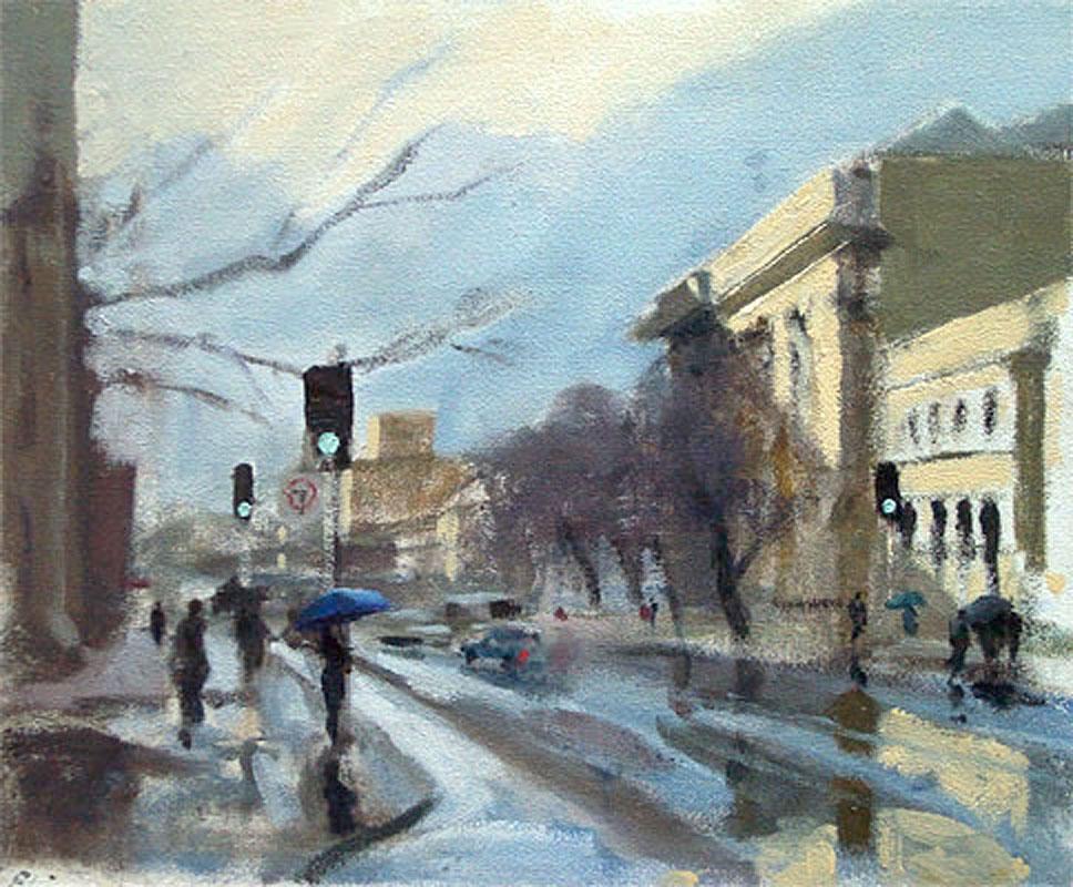 Plein air painting in the rain of figures in Macquarie Street, Hobart, Tasmania.