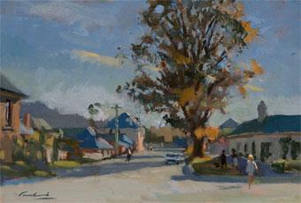 Plein air oil painting of figures on Henry street, Richmond Tasmania.