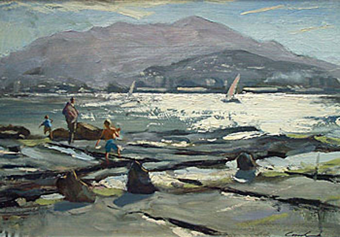 Oil landscape of family at edge of Derwent river near Bellerive, Mt Wellington in background.
