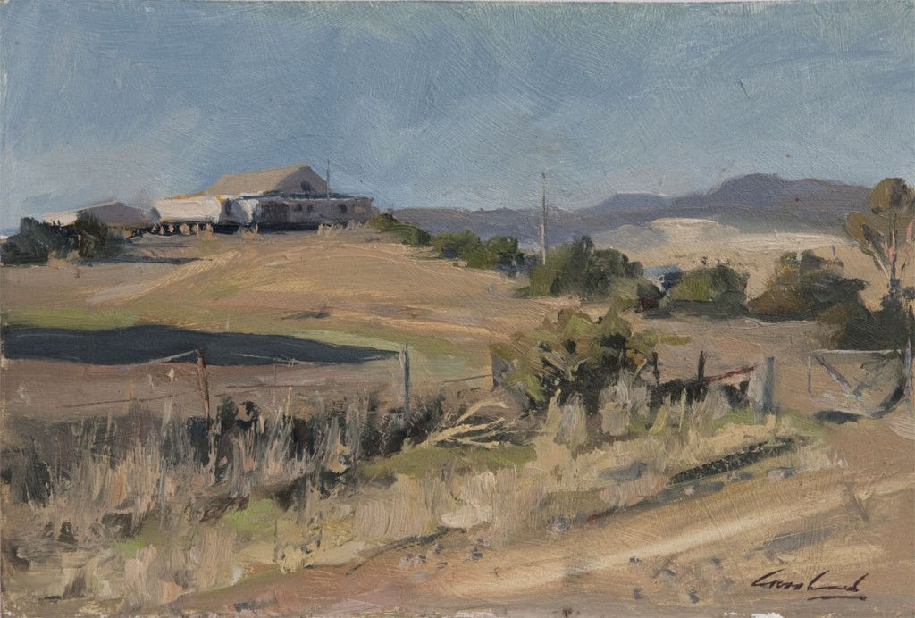 Plein air oil painting of shearing shed at Nant Road, Bothwell in Tasmanian rural landscape, Australia by Rick Crossland