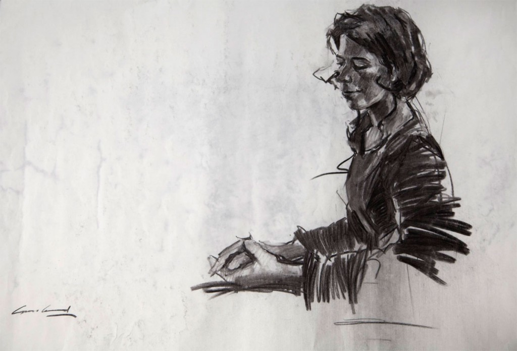 Charcoal portrait drawing, from life, of young lady from Turin, done in studio in Tasmania, Australia.