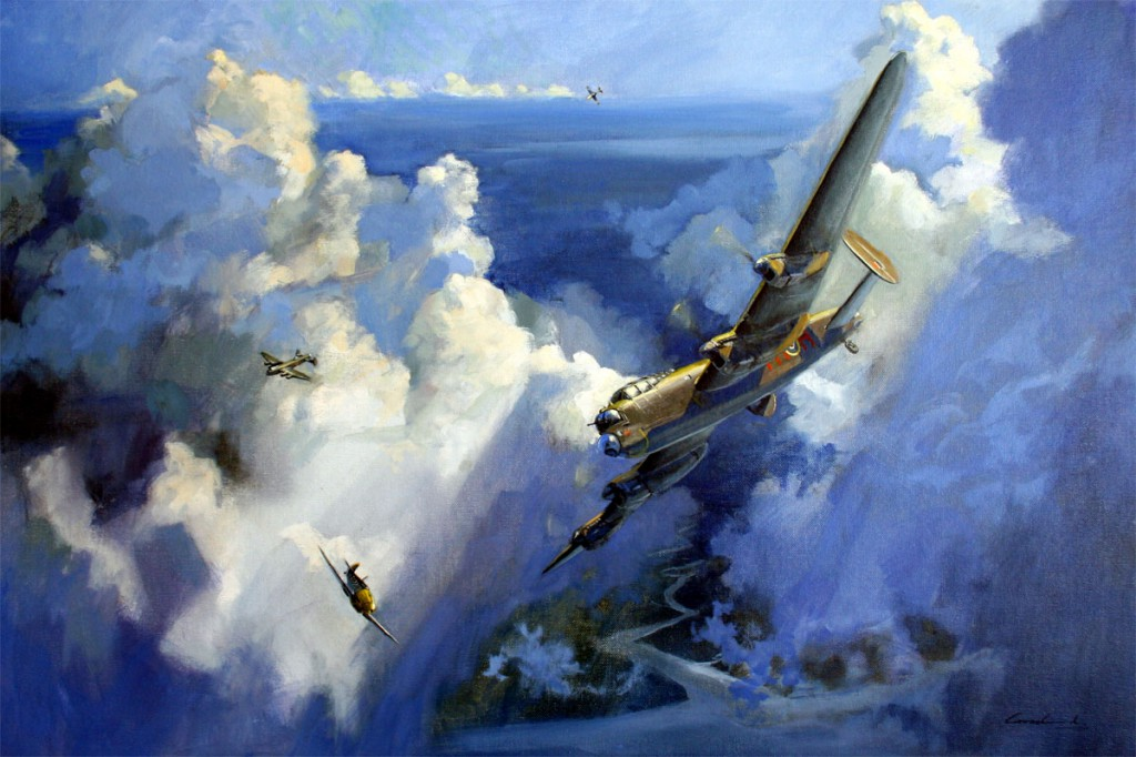 Oil painting of Lancaster bomber and BF109 aircraft, air combat during World War II.