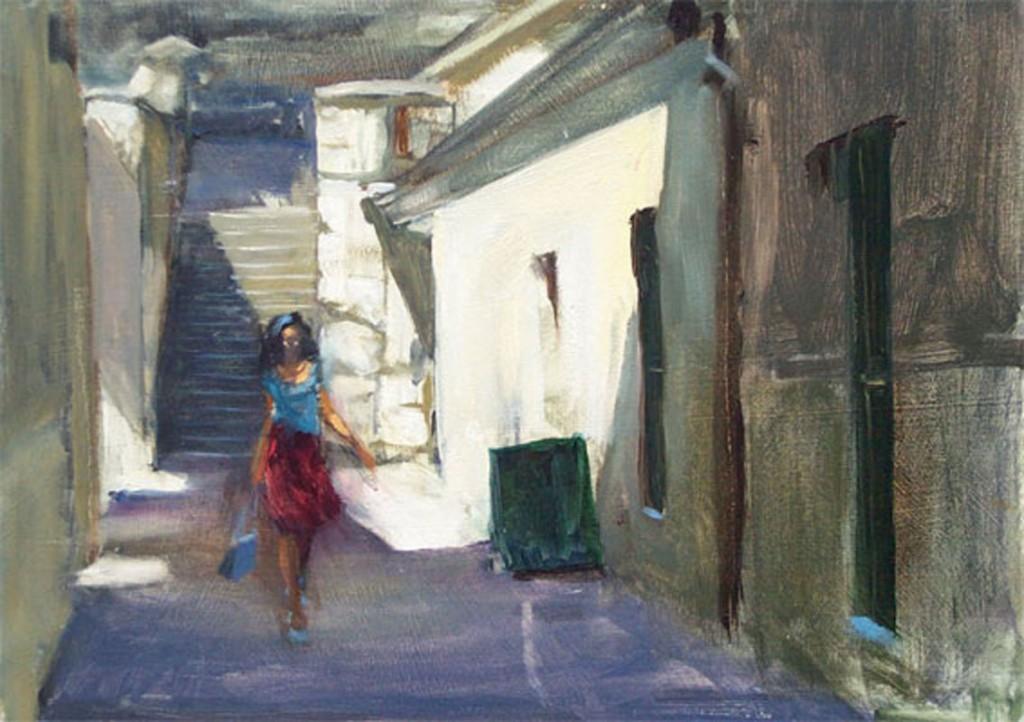 Plein air oil urban painting of woman going to Salamanca market at Kellys steps, Hobart, Tasmania, Australia.