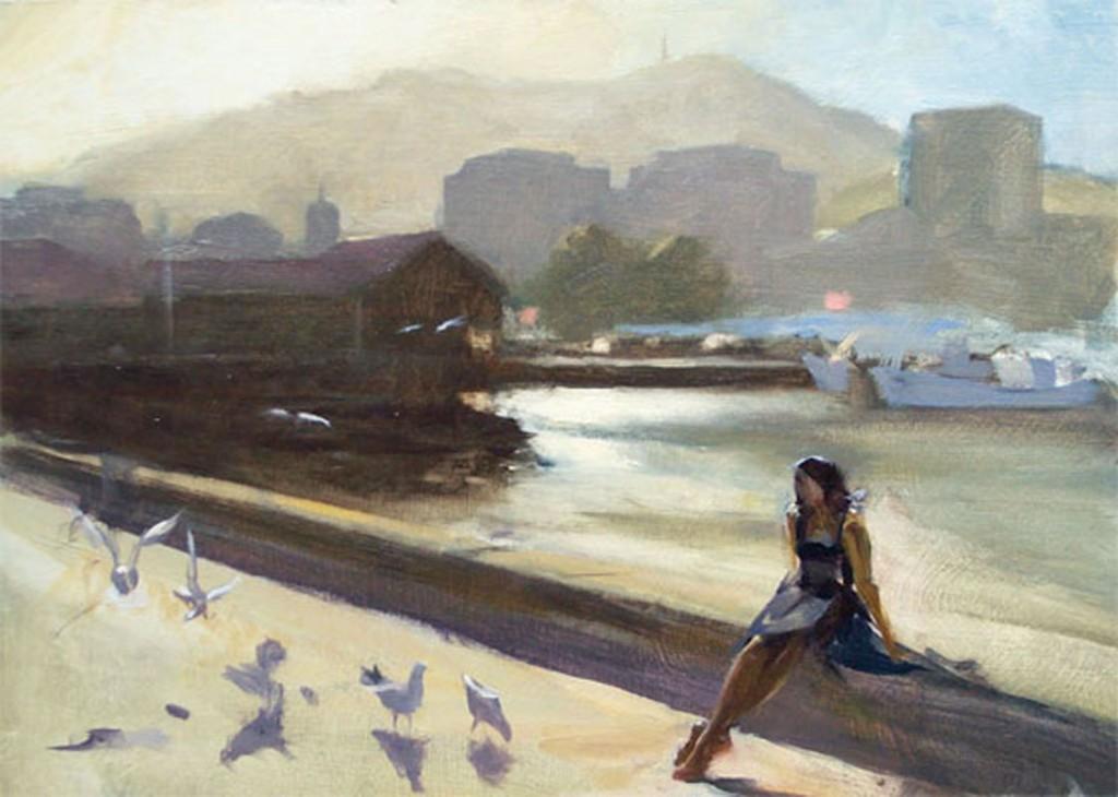 Plein air, figure with gulls at Franklin wharf, Hobart, Tasmania, Australia