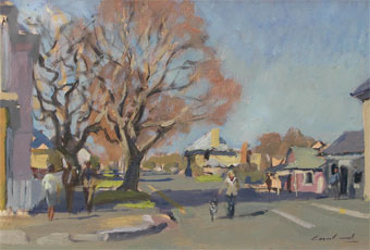 Plein air oil painting of figures in the winter, in street at Henry street, Richmond, Tasmania, Australia.