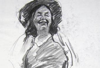 Charcoal sketch of Joe's wife, done in 30min from life in studio in Hobart, Tasmania.