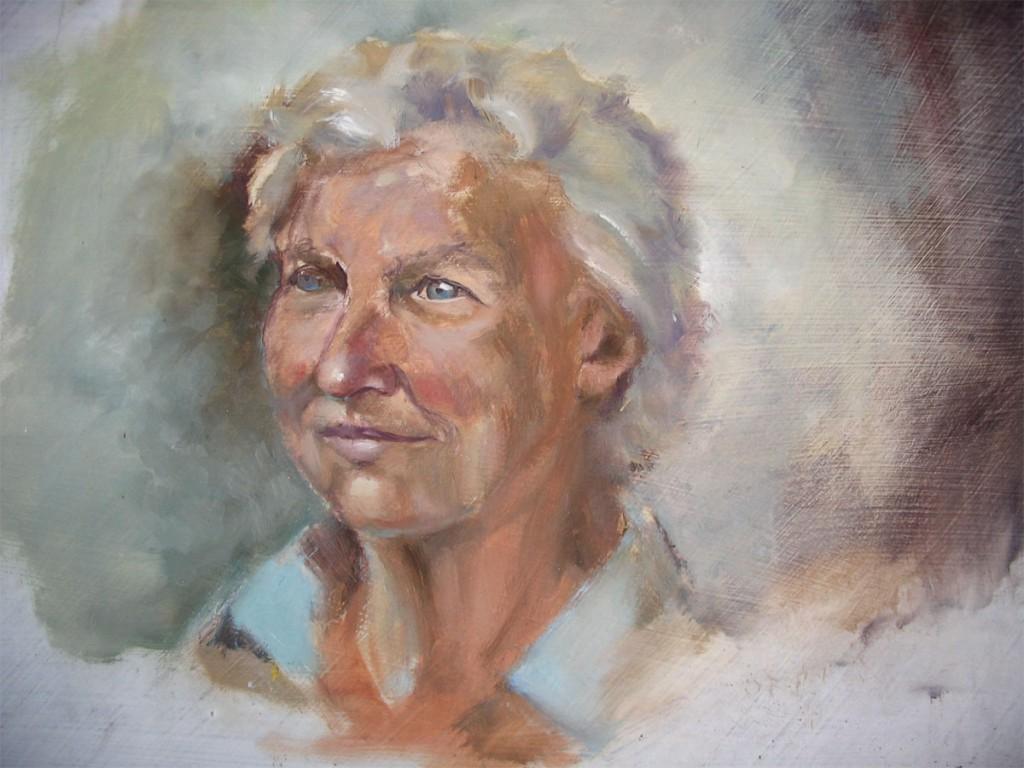 Quick life study of portrait of Jane Munks, Tasmania.
