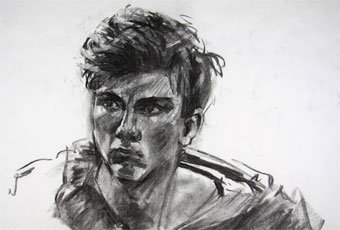 Charcoal sketch of Tom at 15, done in 30min from life in home studio in Hobart, Tasmania.