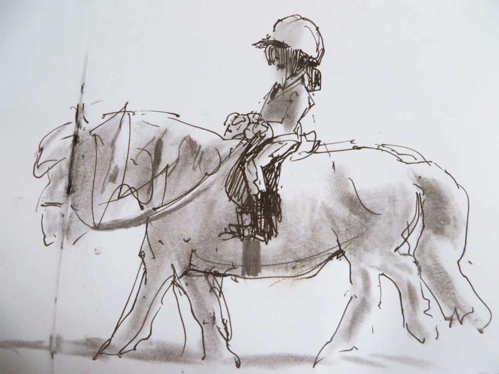 Quick illustration of young pony clubber on her pony. Done from life.