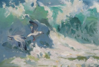 Seagulls in the surf. Painting done from photograph in studio for daughter.