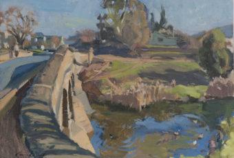 Plein air oil painting of Richmond in Tasmanian rural landscape, Australia by Rick Crossland
