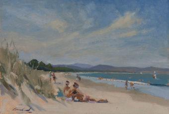 Plein air oil painting of girls sunbathing at Seven Mile Beach, Tasmania, Australia by Rick Crossland