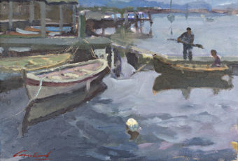 Plein air oil painting by Tasmanian Artist Rick Crossland of boats moored at Franklin, Tasmania.