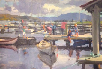 Plein air oil painting by artist Rick Crossland of moored boats and figures on a jetty at Franklin, Tasmania.