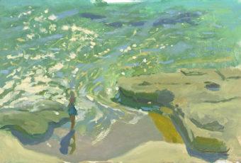 Plein air oil painting of a figure on the beach at Dodges Ferry, Tasmania, Australia by Tasmanian artist, Rick Crossland