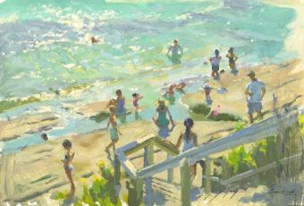 Plein air oil painting of figures on Dodges Ferry beach, Tasmania, Australia by Rick Crossland