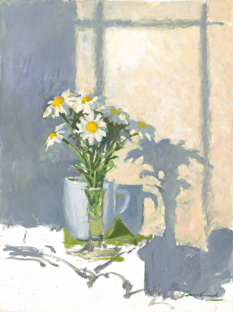 Oil painting of a vase of daisies in morning light by Tasmanian artist Rick Crossland.