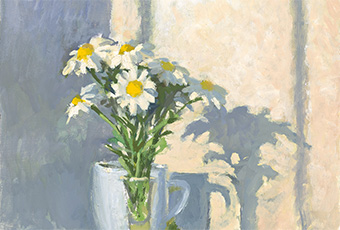 Excerpt of an oil painting of a vase of daisies in morning light by Rick Crossland.