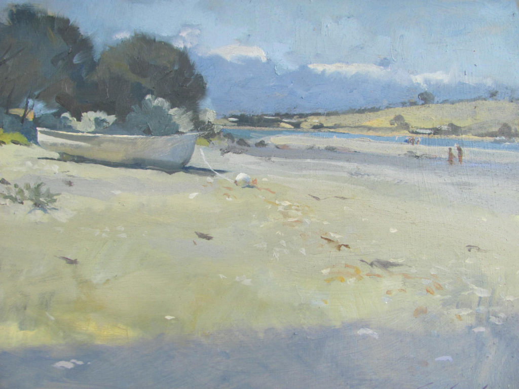 Oil painting of a dinghy at Cremorne beach, Tasmania, with figures in the distance. By Tasmanian artist Rick Crossland.