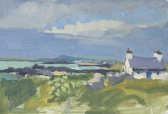 Oil on board painting by Tasmanian plein air artist Rick Crossland of a cottage on the coast in the Welsh countryside