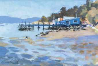 Oil painting on board by Rick Crossland of boatsheds and a jetty at Cornelian Bay, Hobart, Tasmania.