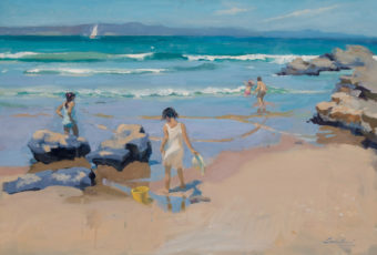 Plein air oil painting of children playing on the beach and in the breakers at Clifton Beach. By Tasmanian artist Rick Crossland.