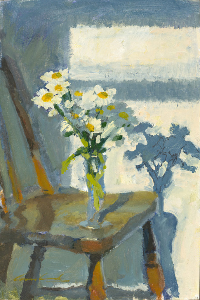 Oil painting of a vase of daisies on a chair in the golden light of morning, by Tasmanian artist Rick Crossland.