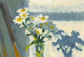 Excerpt of an oil painting of a vase of daisies on a chair in the golden light of morning by Tasmanian artist Rick Crossland.