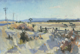 Plein air oil painting of a closed gate leading to a paddock with sheep grazing and mountains in the distance in rural Tasmania