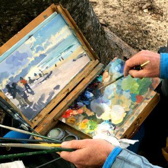 A work in progress, including the artist's mixing palette, by Tasmanian plein air artist, Rick Crossland.