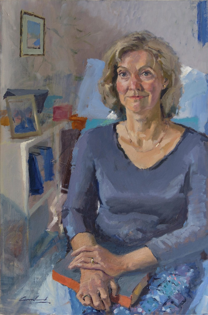 Oil painting of a woman seated with a book on her lap.