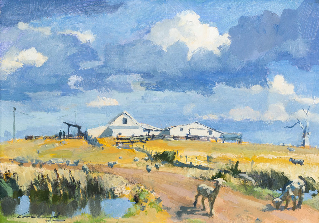Oil painting of a shearing shed in the Central Highlands of Tasmania, with sheep grazing in the foreground by plein air artist Rick Crossland.