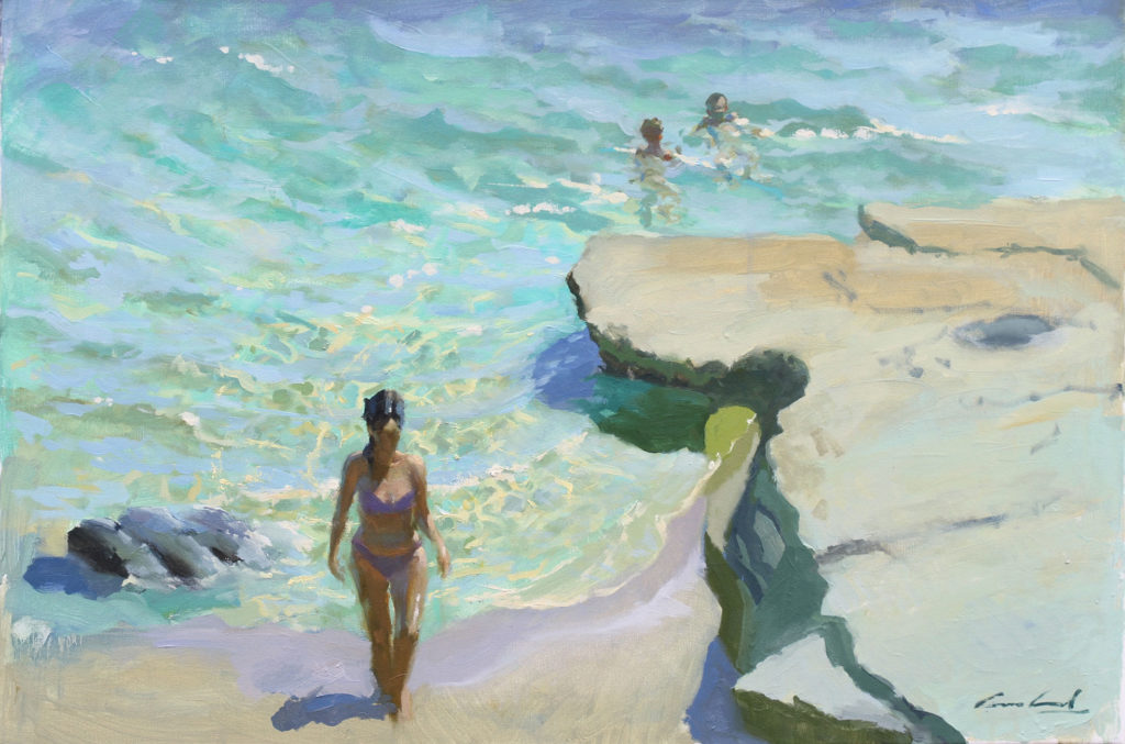 Oil painting of figures on the beach and in the sea at Dodges Ferry, Tasmania, by artist plein air Rick Crossland.