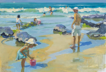 Oil painting on figures swimming and playing on Carlton Beach, by plein air artist Rick Crossland.