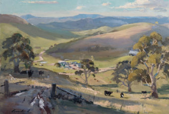 Plein air oil painting of the rural landscape looking across to Table Mountain from Dysart, Tasmania. By artist Rick Crossland.