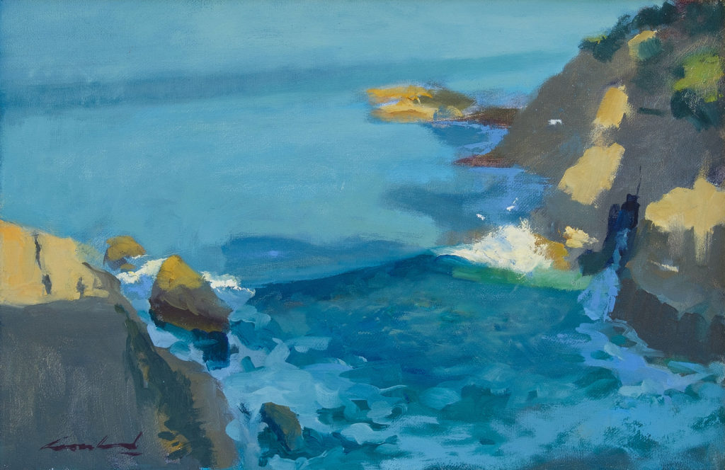 Plein air oil painting of waves breaking against the cliffs at South Arm, Tasmanian by artist Rick Crossland.