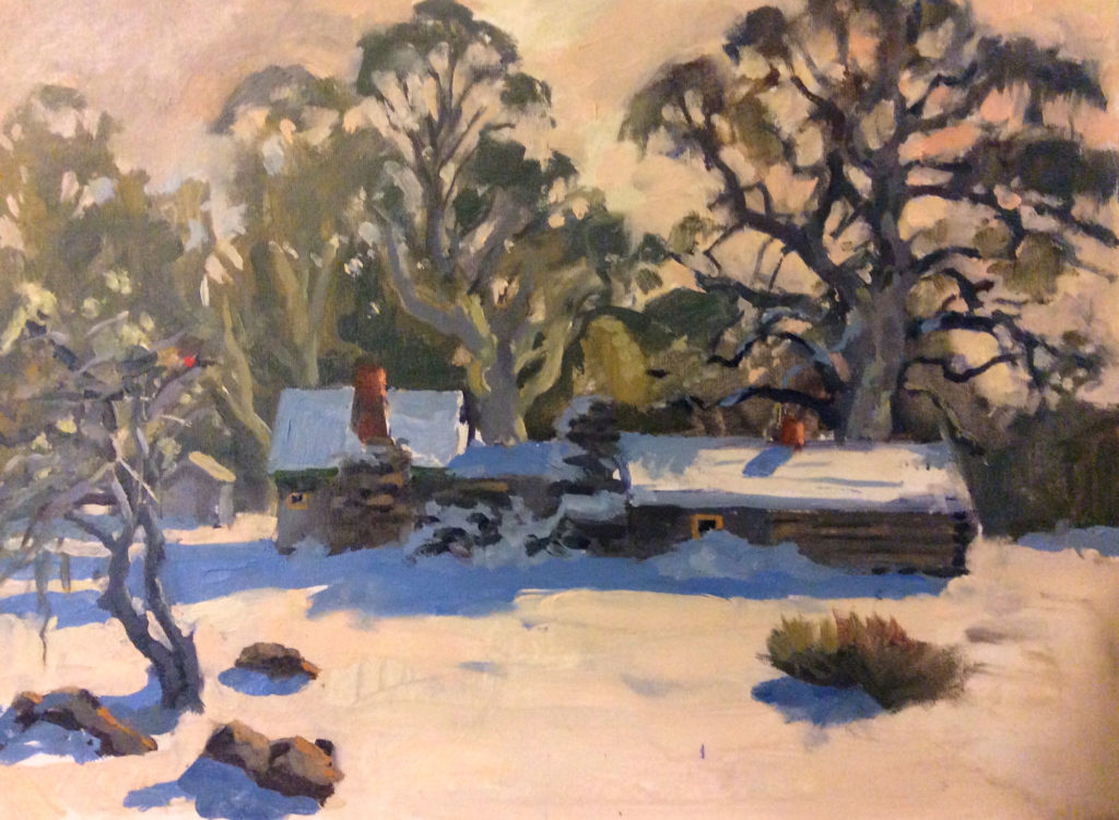 Oil painting of a snow-covered homestead with a snowy foreground and large Eucalyptus trees in the background by Tasmanian artist Rick Crossland.