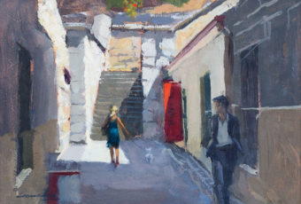 Plein air oil painting of two figures walking at Kelly's Steps, Salamanca by Tasmanian artist Rick Crossland.