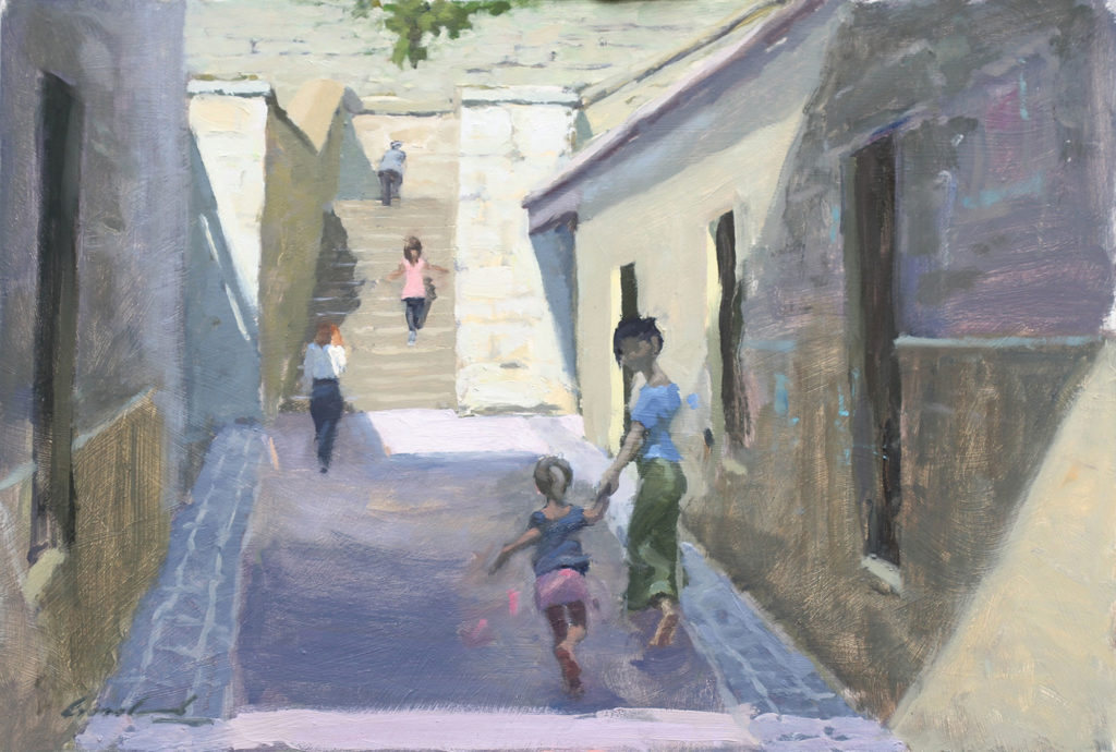 Oil painting on canvas of a woman and young girl running toward Kelly's Steps, Salamanca, Tasmania, by plein air artist Rick Crossland.