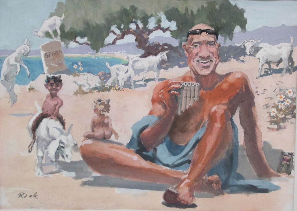 Gouache illustration of a man sitting on a beach with goats and cherubs frolicking in the background