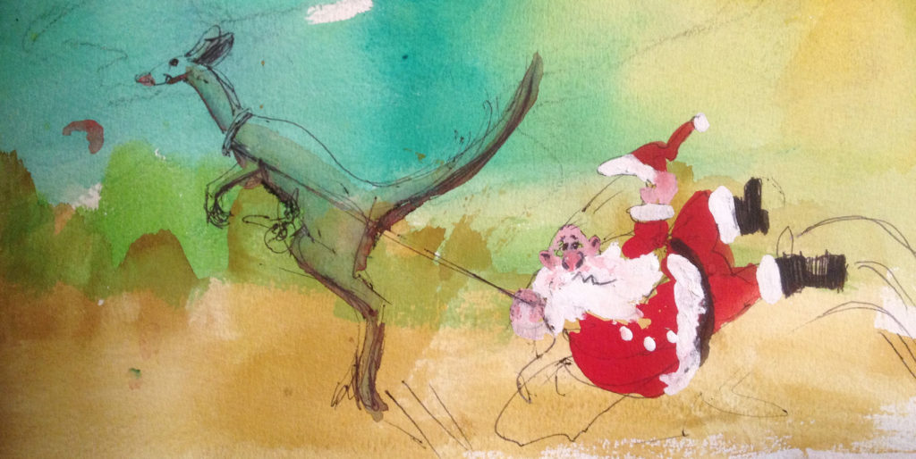 Gouache illustration of Father Christmas being led by a large kangaroo