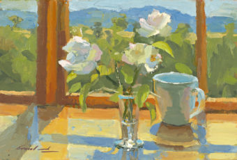 Oil on board painting of a vase of roses in a kitchen bench, in front of a window with hills in the far background, by Tasmanian artist Rick Crossland.